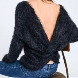 ASOS Fuzzy Back Twisted Knot Sweater